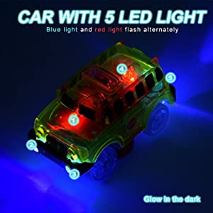 Lydaz Pack of 2 Replacement Race Car Track Play & Independent 5 LED Light up School Police Vehicles Glow in the Dark Compatible with Dinosaur Tracks and Magic Tracks