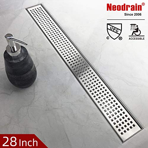 Neodrain 28-Inch Linear Shower Drain with Removable Quadrato Pattern Grate,Professional Brushed 304 Stainless Steel Rectangle Shower Floor Drain Manufacturer,With Leveling Feet,Hair Strainer (Drain Nickel Shower Polished)