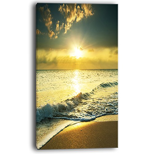 Design Art Yellow Sunlight over Crystal Waters Seashore Canvas