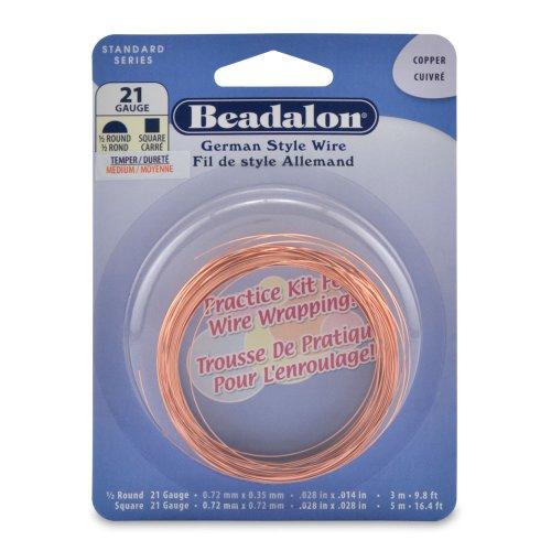 Beadalon Half Round Square Copper 21-Gauge Practice Wire, Round- 3m, Square- - Wrapping Wire Round