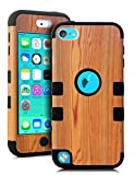TIANLI(TM) Wood Hard Inner Shell with Soft Silicone Skin Case for Apple iPod Touch 5G 5th Generation+[Screen Protector]+[Free Stylus]+[Cleaning Cloth] MW Black