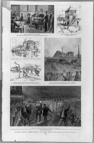 Photo: Great railway strikes, road, scenes, Chicago, Illinois, IL, sketches, G Coffin, 1894 . Size: