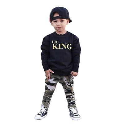 ❤️Ensembles de Bébé Garçon ,Amlaiworld Enfants Garçon Lettre T-shirt Tops + Pantalons de Camouflage Pour Garçon 6Mois-7 Ans