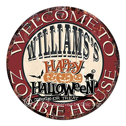 Welcome to The Williams'S Happy Halloween Zombie House Chic Tin Sign Rustic Shabby Vintage Style Retro Kitchen Bar Pub Coffee Shop Man cave Decor Gift -