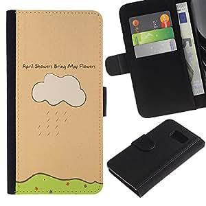 Samsung Galaxy S6 / SM-G920 , la tarjeta de Crédito Slots PU Funda de cuero Monedero caso cubierta de piel ( April Showers May Flowers Quote Art Drawing)
