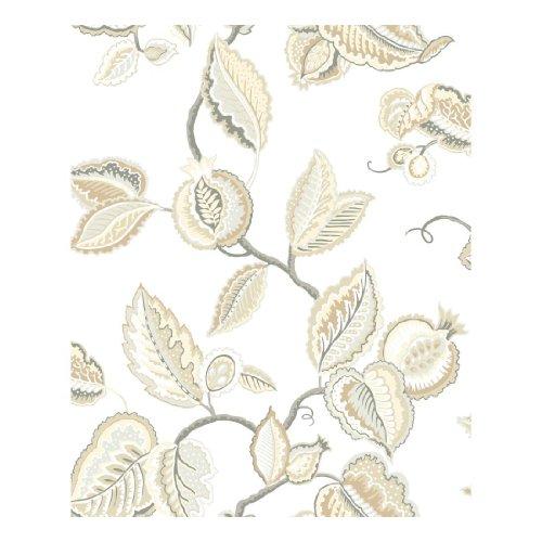 York Wallcoverings Waverly Classics Fantasy Fleur Removable Wallpaper, Cream/Lead Gray/Graphite Gray/Dove Gray/Cocoa/Beige