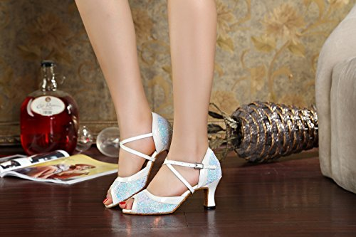 Shoes for White Comfortable Wedding 7cm Heel Dancing Party Femme Heel Latin Low Sandals Salsa Miyoopark TBqvYpY