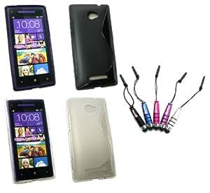 Emartbuy ® Htc Windows Phone 8X - Paquete De 5 Stylus Metálico Mini Pack Bundle + De 2 Skin Gel Wave Pattern Cubierta Transparente Y Negro