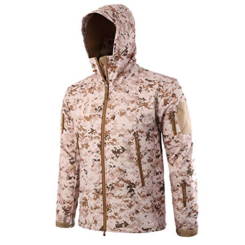 Military Ba Men's Hooded Lightweight Windbreaker Winter Jacket Shell-Desert Digital L