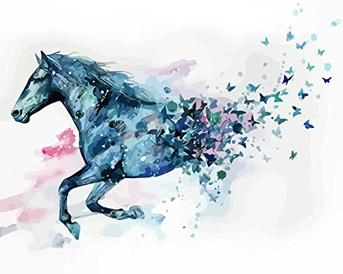 Diy Oil Painting, Paint by Number kit Fantasy Running Horse Into Butterflies 16x20 inch [Wooden Frames need to be installed] By Prime Leader