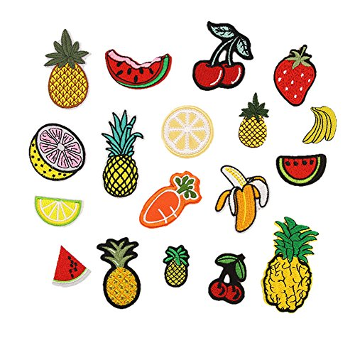 Hwafan Mix 18PCS Fruit Pineapple Lemon Decal Fabric Iron On Patches Embroidered Motif Badge DIY Decoration Applique for Jeans Clothes ()