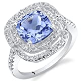 Peora Simulated Tanzanite Sterling Silver Double Halo Ring