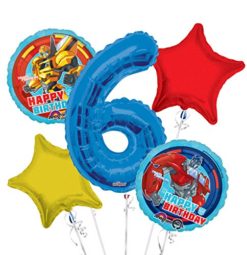 Transformers Happy Birthday Balloon Bouquet 6th Birthday 5 pcs - Party -