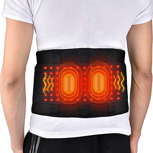 3 in 1 Massaging Heated Waist Belt Wrap, Heat & Massage 3 Settings, Lumbar Lower Back Brace with 2 Vibration Motors for Back Cramps Abdominal Arthritice Stomach Pain Relief for 29''-45'' Waist (Black)