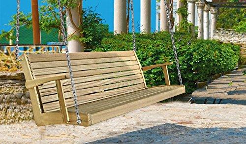 Hängebank Gartenbank Holzbank Gartenmöbel Sitzbank Bank mit Rückenlehne (Lärche; 175x74x57 hanfseil)
