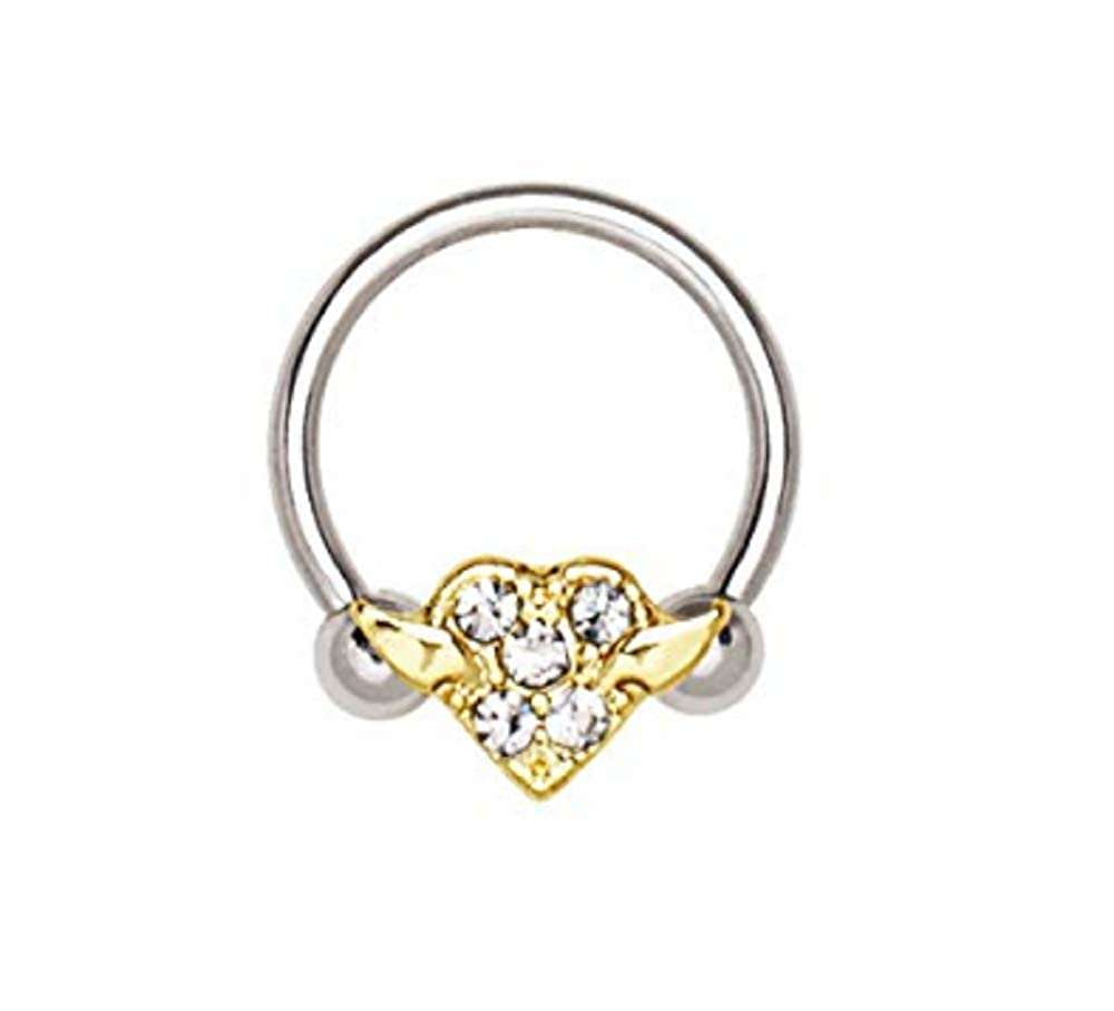 Freedom Fashion 316L Surgical Steel Gold Plated Heart Snap-in Captive Septum Ring Sold Individually