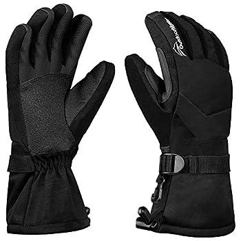 OutdoorMaster Womens' Ski Gloves - Waterproof Winter Gloves with Long Gauntlets (Black,L)