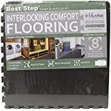 Best Step Interlocking Comfort Flooring. plus Borders (2 x 2 x 3/8) (8 Tiles = 32 sq. ft.) Anti-Fatigue, Microban Protected, Charcoal Gray Foam Flooring by Best Step