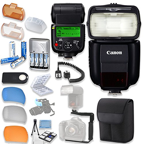 Canon Speedlite 430EX III-RT Flash with Canon Speedlite Case + TTL Cord + Flash L-Bracket + Flash Diffusers + 4 High Capacity AA Rechargeable Batteries & Charger + Accessory Bundle