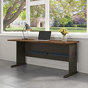 Bush Business Furniture Series A 72W Desk in Sienna Walnut and Bronze