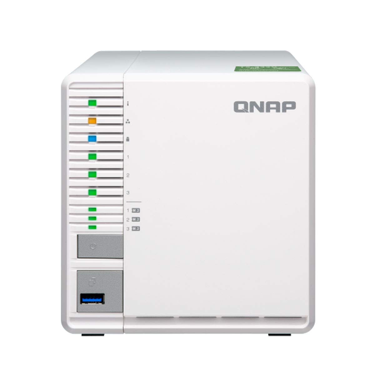 QNAP TS-332X 3-Bay 64-bit NAS with Built-in 10G Network. Quad Core 1.7GHz, 2GB RAM, 1 X 10GbE (SFP+), 2 X 1GbE, 3 X 3.5/2.5'' Drive Slots, 3 X M.2 SATA 2280 Slots, RAID 0/1/5 by QNAP