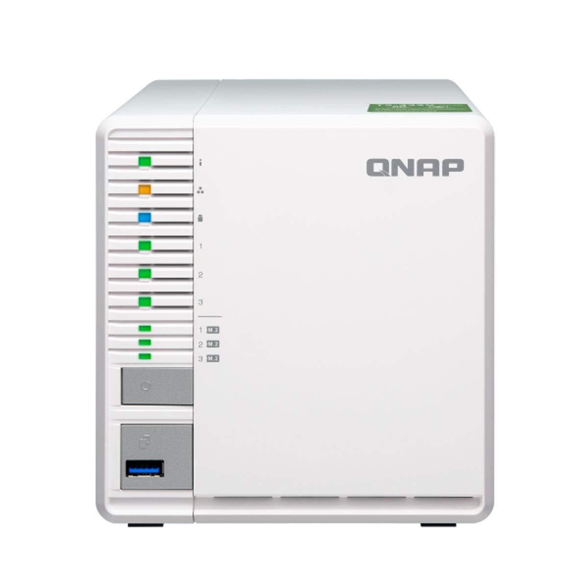 QNAP TS-332X (4GB RAM Version) 3-Bay 64-bit NAS with Built-in 10G Network. Quad Core 1.7GHz, 4GB RAM, 1 X 10Gbe(Sfp+), 2 X 1GbE, 3 X 3.5''/2.5'' Drive Slots, 3 X M.2 SATA 2280 Slots, RAID 0/1/5 by QNAP