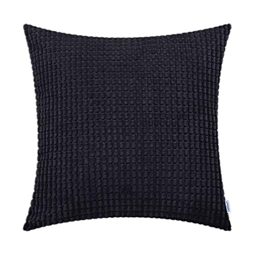 (CaliTime Cozy Throw Pillow Cover Case for Couch Sofa Bed Comfortable Supersoft Corduroy Corn Striped Both Sides 26 X 26 Inches Black )