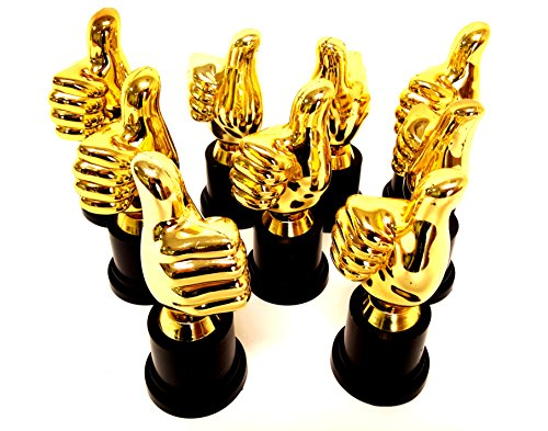 Playscene Thumbs Up Plastic Gold Trophies (12)