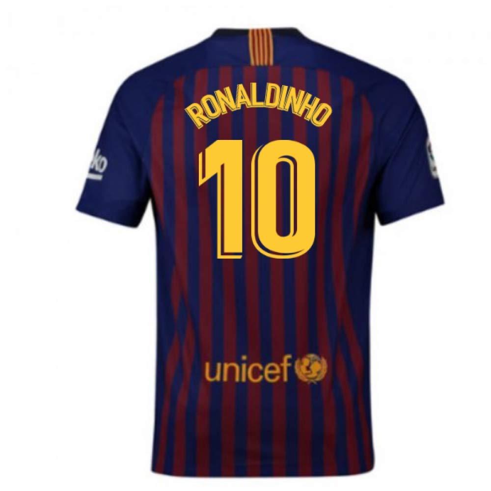 2018-2019 Barcelona Home Nike Football Soccer T-Shirt Trikot (Ronaldinho 10) - Kids