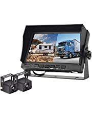 Podofo Backup Camera and Monitor Kit, AHD Reverse Camera with 7'' Dual Split Screen Monitor, IP68 Waterproof Rear View Camera Support Color Night Vision SD Card DVR for Trucks, Trailers,RVs, Vans