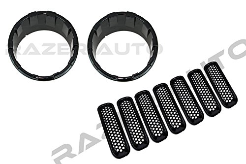Razer Auto Gloss Black HeadLight HeadLamp Trim Ring Bezel and 7pcs Front Mesh Hole Grille Cover for 07-17 Jeep Wrangler JK ()