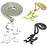 MENS HATCHET MAN HIP HOP PENDANT NECKLACE GOLD SILVER BLACK LARGE w/ 5mm CUBAN CHAIN (Gold)