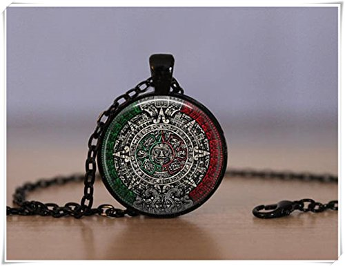Beautiful Dandelion Aztec Calendar Pendant Necklace Mayans Valley of Mexico