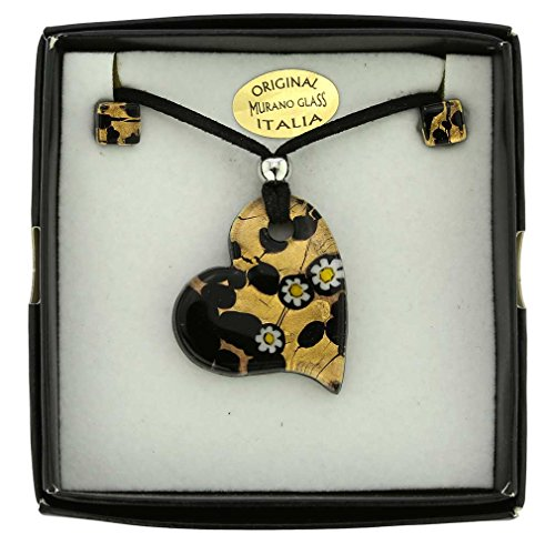 GlassOfVenice Murano Glass Venetian Reflections Heart Necklace and Earrings Set ()
