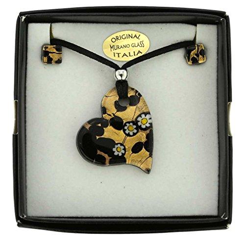 GlassOfVenice Murano Glass Venetian Reflections Heart Necklace and Earrings Set