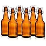 Beer Me! Home Brewing 16 oz Glass Bottles with Caps for Beer, Kombucha, Amber, Reusable (Set of 6)