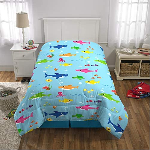 Franco Kids Bedding Super Soft Comforter and Sheet Set with Bonus Sham, 5 Piece Twin Size, Baby Shark 5