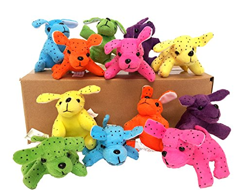 Dondor Plush Neon Dogs, Cute & Cuddly Plush Party Favors (12 Piece Pack!) By