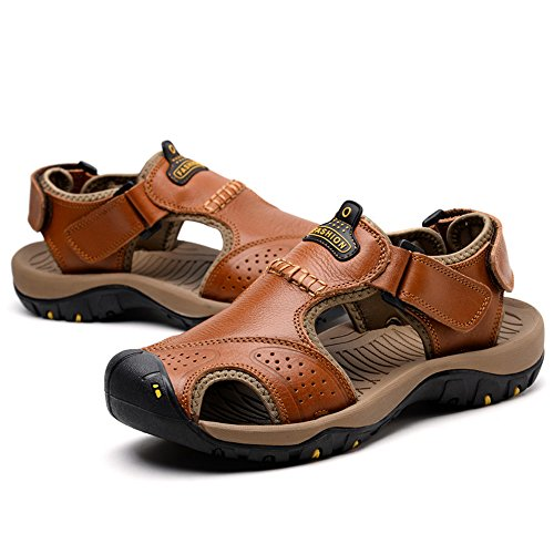Fisherman Men's Brown Adjustable Summer CNBEAU Toe Outdoor Closed Sandals Flat Casual Belt Sports Slippers Soft Beach Shoes Uad0wa