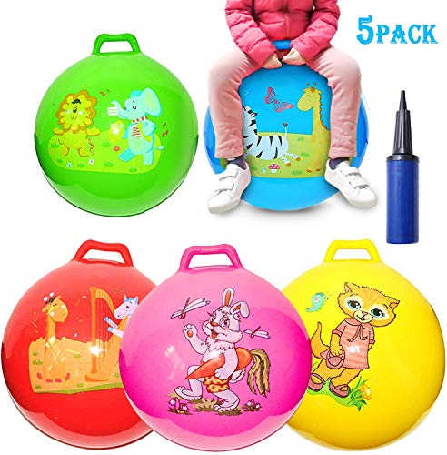 5 Pack Jump Hopper Bouncy Hopping Ball 18 inch with Handle Party Favors for Kids 3-6 Years,School Team Ride and Jumping Party