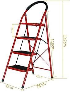 Acero Plegable Escalera,paso 4 Escaleras De Mano Ampliación De Pedal Antideslizante Multiusos Escalera Para El Hogar Supermercado Cocina-rojo4 45x78x132cm(18x31x52inch): Amazon.es: Bricolaje y herramientas