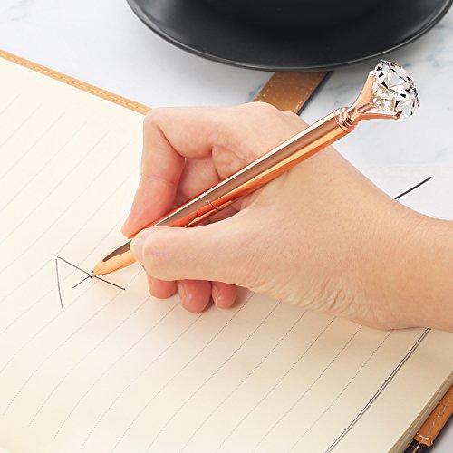 Bememo 12 Pieces Big Diamond Crystal Ballpoint Pens and 6 Pieces Ballpoint Pen Refills, Black Ink (Rose Gold) Photo #5