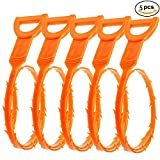Hair Drain Clog Remover Flexible Drain (5 Pack), Hook Slow Drain Relief Cleaner Snake Hair Clog Tool for Drain Cleaning, Quick and Easy Drain Unclogger, Orange 20 Inches