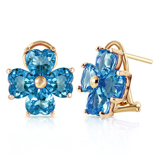 7.6 Carat 14k Solid Gold French Clip Earrings with Natural Blue Topaz