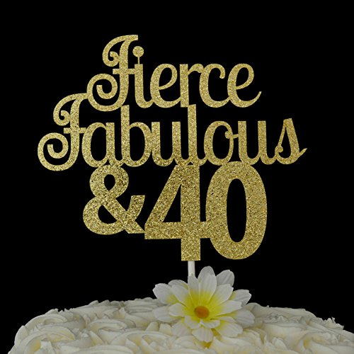 Fierce Fabulous & 40 Cake Topper Glitter Cake Topper 40th Birthday Party Decoration Fourtieth Adult Milestone Birthday Cake Topper Birthday Gift for Women Men Birthday Party Decorations Toppers