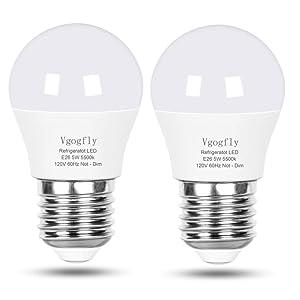 LED Refrigerator Light Bulb 40W Equivalent 120V A15 Fridge Waterproof Bulbs 5 W Daylight White 5500K E26 Medium Base Freezer Ceiling Home Lighting Lamp Non-dimmable(2 Pack)