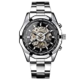 Men Mechanical Wrist Watch - Winner New Men's Skeleton Stainless Steel AUTO Mechanical Sport Wrist Watch Black