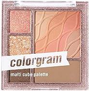 COLORGRAM Multi Cube Palette 5 Colors Eye Shadow - True Beauty K-Drama Makeup, Matte & Glitter Shades, Dai
