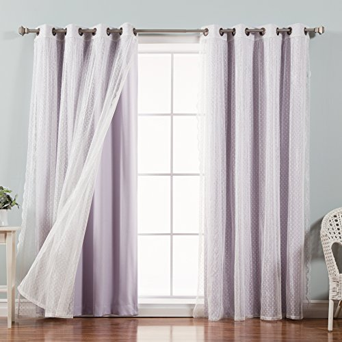 Best Home Fashion Mix & Match Dotted Tulle Lace & Solid Blackout Curtain Set – Antique Bronze Grommet Top – Lilac – 52