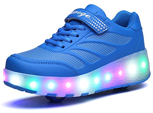 Price comparison product image Ausom Girls Boys Glint Light Up Double Wheels Kids LED Roller Shoes Skates Sneakers